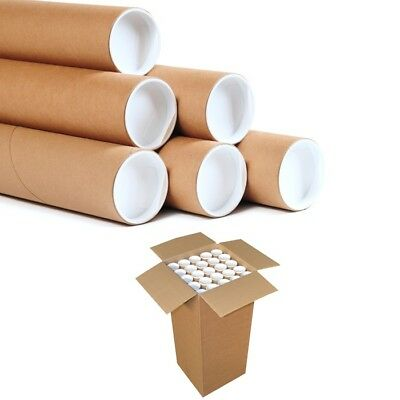 25 Postal Tubes Extra Strong Quality Cardboard A2 465MMx76.5MM+Plastic End Caps