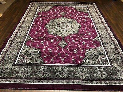 Modern Rug Approx 8x6ft 180x240cm Woven Thick Sale rugs Top Quality Greys/Purple