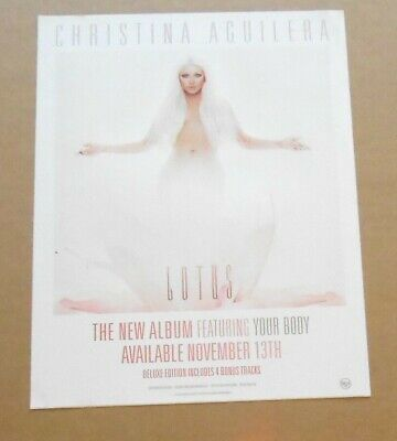 Christina Aguilera Lotus Large Sticker Poster 2012 Promo 8.5x11