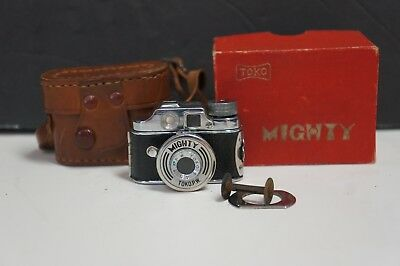 Vintage Toko Mighty Miniature Art Deco Occupied Japan Camera w/ Leather Case