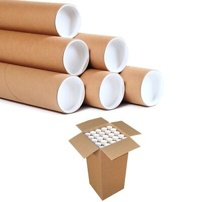 25 Postal Tubes Extra Strong Quality Cardboard A3 335MMx76MM+Plastic End Caps