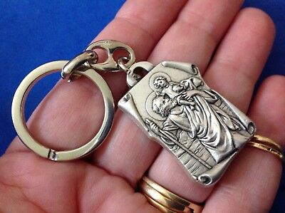 ST CHRISTOPHER OUR LADY OF GRACE Saint Medal KEYCHAIN KEY RING Protection Italy