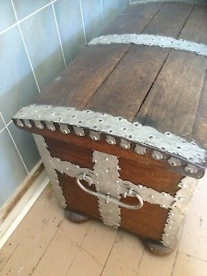 19th Century Solid Oak Metal Bound Domed Sea Captains Chest, Large