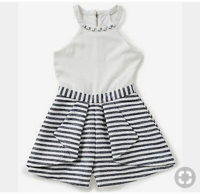 GB Girls White/Navy Romper with Beaded Detail. Sz 12. BRAND NEW WITH TAGS.