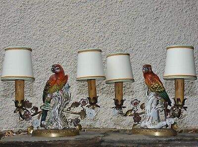 Pair of Gilt Brass Mounted Porcelain Capodimonte Parrots Table Lamps circa 1950