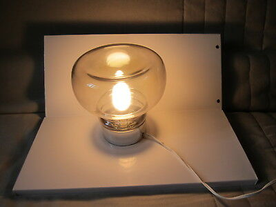 Lampe De Table Globe En Verre Pied Imitation Chrome Vintage Eur 25