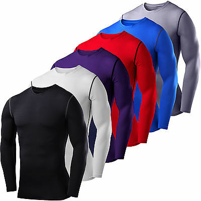 Mens Compression Armour Base Layer Top Long Sleeve Thermal Gym Sports T-shirts