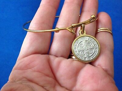Custom St BENEDICT Two Tone Saint Medal BRACELET Stainless Steel Protection 8""