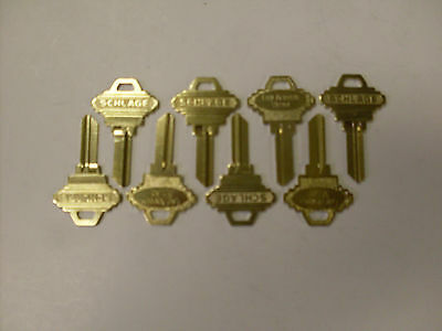 "Lot of 8 Large Bow Schlage key blanks - Uncut 5 pin ""C"" key blanks w/ LOGO"