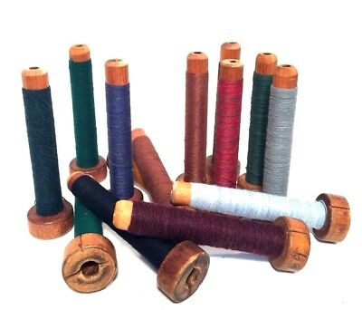 Bobbins Spools Spindles Quills Threaded Textile Multicolored Wooden lot-14