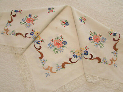 """Vintage Off White Cotton Tablecloth Hand Embroidered Flowers 28"""" x 30"""""""