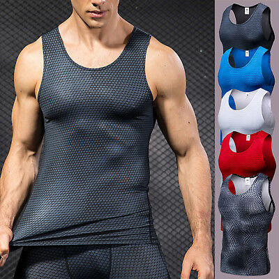Mens Compression Base Layer Tops Sleeveless Gym Running Sports T Shirt Vest Top