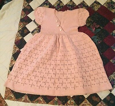 Vintage Infant Baby Sm Toddler Dress KNIT PEACH SALMON Very Nice 1950s Or Older?