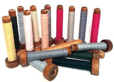 Bobbins Spools Spindles Quills Threaded Textile Multicolored Wooden lot-18