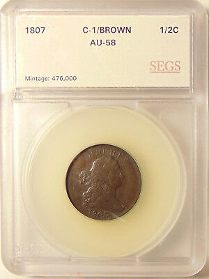 1807 Half Cent - C-1 Better Date - Very Pretty AU+ Coin - FREE SHIPPING & INSUR.