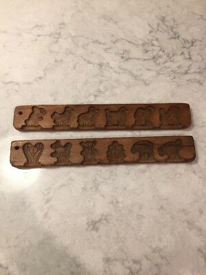 Antique Vtg Wood Cookie Chocolate Sugar Butter Mold Press Animals Plants Flowers