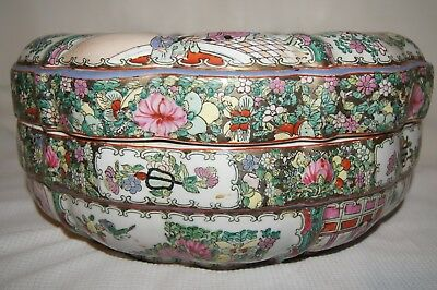 Chinese Rose Medallion Bowl With Cover 14""