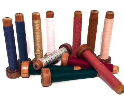 Bobbins Spools Spindles Quills Threaded Textile Multicolored Mixed Wooden lot-12