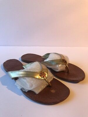 05c3acb4aed3 TORY BURCH THORA Flip Flop Thong Sandals Royal Tan Leather Gold Size 8 New