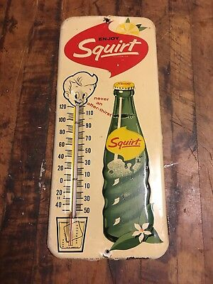 Vintage Original Squirt Soda  Thermometer, 1963, Very Cool Metal Sign