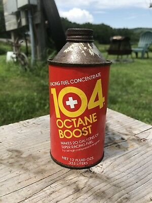 Vintage 104 Octane Boost , Cone Can 12oz , Advertising