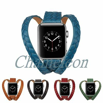 Double Tour Woven Genuine Leather Strap for Apple Watch Band Series 3 2  38 42mm