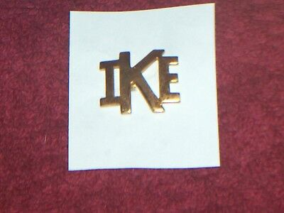 RARE ORIG.1950s EISENHOWER (IKE) CAMPAIGN BRASS LAPEL PIN WITH SCREW BACK
