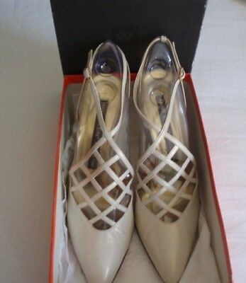 ANNE KLEIN ALL LEATHER SHOES DESIGNER COLLECTION size 8.5 M White Pearl  NIB