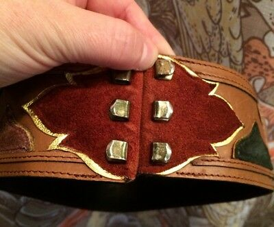VINTAGE Waist Corset Belt LUXURY Leather Suede Metallic Gold MADE IN FRANCE