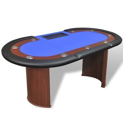 10 Player Sleek Racetrack Poker Game Table Desk w/Dealer Area Chip Tray Party