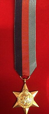 """1939-1945 Star Medal Ww2 Perfect Copy Replacement Superb Wi̇th 10"""" Ribbon"""