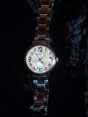 Hello Kitty Women's Watch Silver Pink Shell Face 802L Water Resistant Japan Movt