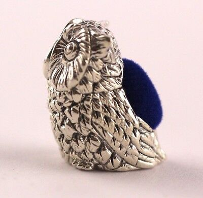 Collectable Miniature Victorian Style Owl Pin Cushion Sterling 925