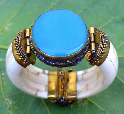 Big Blue Agate Stone Bone Bangle Bracelet Tribal Ethnic Bohemian African Jewelry