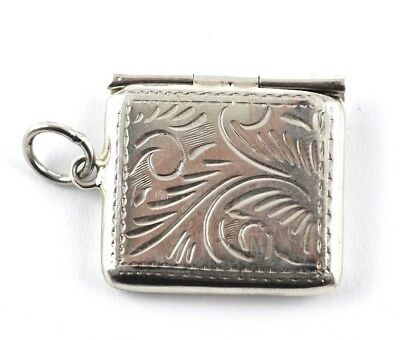 Novelty Antique Victorian Style Stamp Case Pendant 925  Solid Sterling Silver