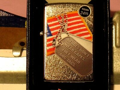 New USA Pa Windproof Zippo Lighter 07268 American Flag & Dog Tag St Chrome Case
