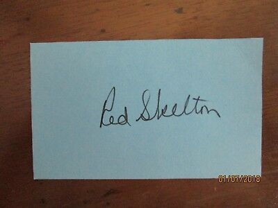 RED SKELTON AUTOGRAPH on pretty blue card - 1970's