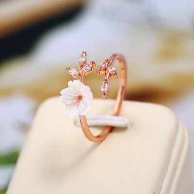 Women Fashion Rose Gold Zircon Branches Flower Opening Cuff Ring Size Adjustable