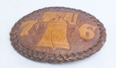 Vintage Hand Tooled Leather Bi-Centennial Belt Buckle