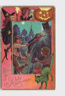 Antique Postcard Halloween Witch Kids Playing Tricks Black Cat Bats Owl Jack O L