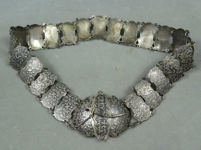 "Antique 28"" 164g Kiev Russian Imperial 84 Niello Silver Dagger Style Bridal Belt"