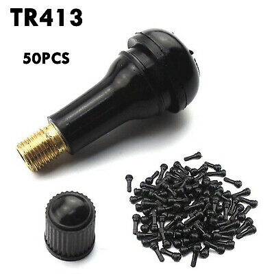 50pcs Car Auto TR 413 Short Rubber Tubeless Snap-In Tyre Tire Valve Stems Black