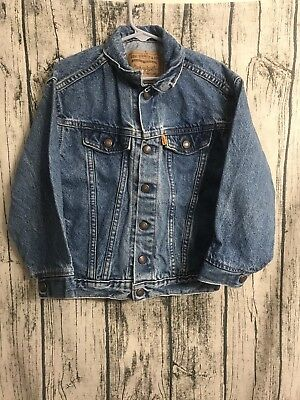 VIntage Levi's Size 7 Denim Jacket Front Snaps Youth Little Kids Orange Tag