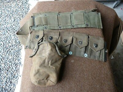 Vtg Wwii Us Army Military10 Pouch Ammo Belt M1 Garand Ammunition + Canteen Pouch