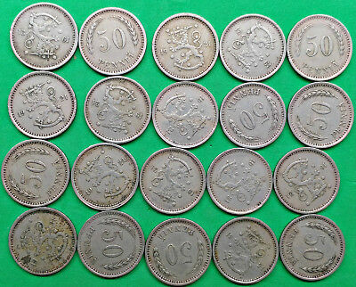 Lot of 20 Mixed Old Finland 50 Pennia Coins all dated 1921 Vintage Scandinavia!