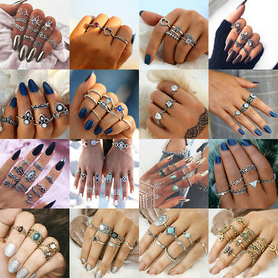 New Bohemian Retro Gem Fashion Women Carved Finger Knuckle Midi Rings A Set Ring
