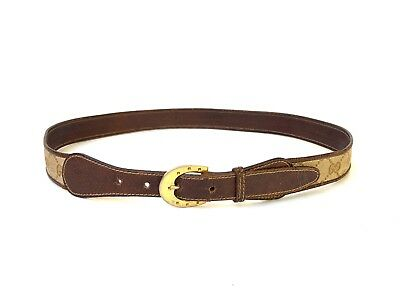 GUCCI!!! Vintage 1970s 'Gucci' brown leather belt with woven jacquard logo panel