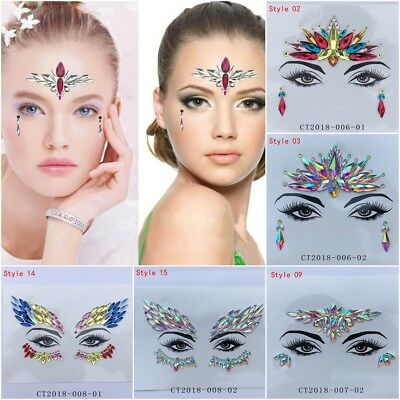 Face Gems Jewels and Glitter Body Chest Nippel Tattoo Festival Makeup Stickers