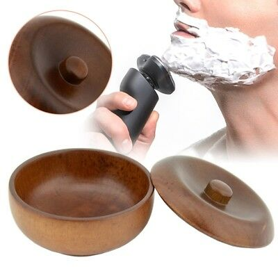 Premium Wooden Shaving Bowl Mug Shave Soap Cream Holder Cup with Lid New