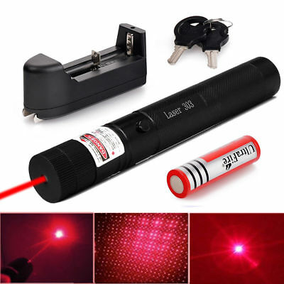 Military 650nm 303 Red Laser Pointer Lazer Pen Beam Light 18650 Battery+ Charger